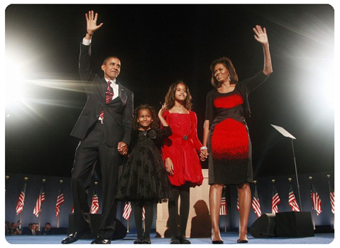 Image result for THE OBAMA FAMILY ON ELECTION NIGHT, 2008
